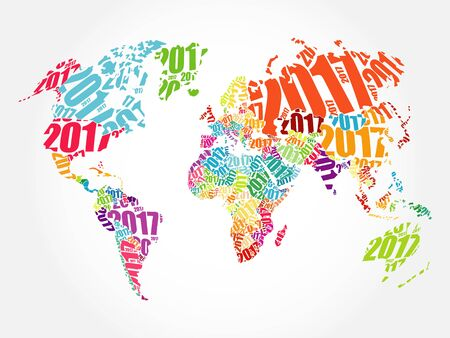 2017 Happy New Year, World Map in Typography word cloud collage concept