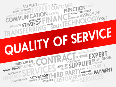 consumer society: Quality of Service word cloud collage, business concept background