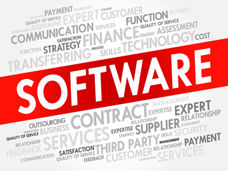 Software related items word cloud, business concept Illustration