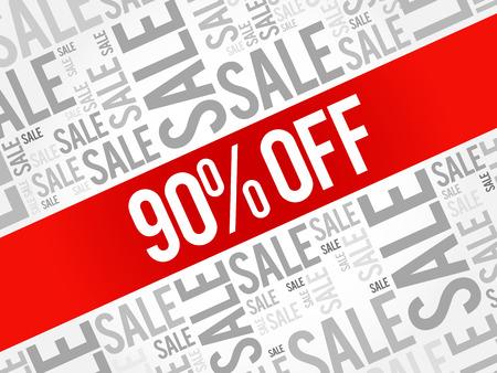 90% OFF Sale words cloud, business concept background Illustration