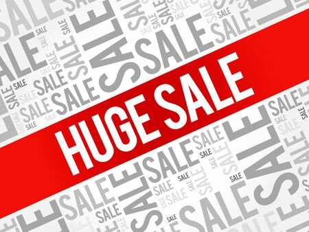 shopper: HUGE SALE words cloud, business concept background