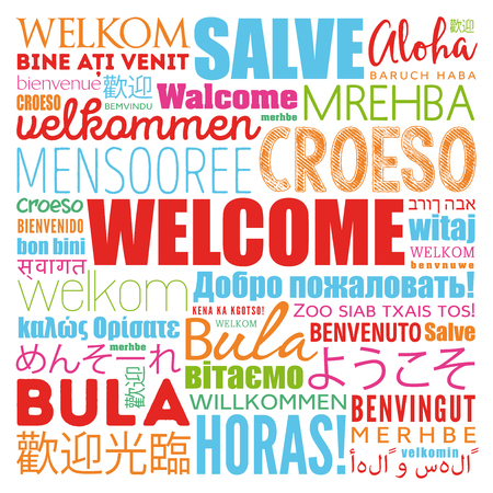 WELCOME word cloud in different languages, concept background Illustration