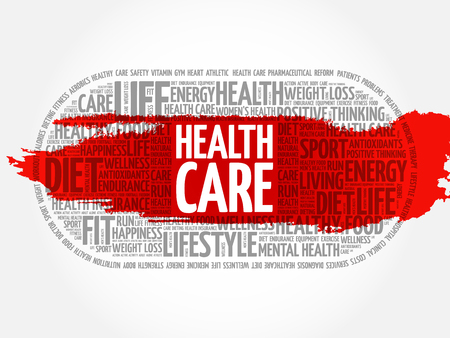 doctor tablet: Health care word cloud collage, fitness, sport, health concept Illustration