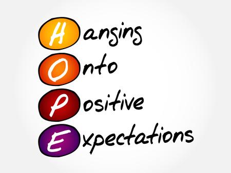 희망 - 긍정적 인 기대에 매달려, 두문자어 개념