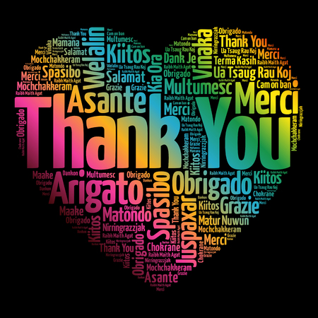 responding: Thank You Love Heart Word Cloud in different languages, concept background Illustration