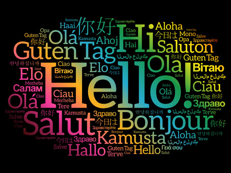 greet: Hello word cloud in different languages of the world, background concept Illustration