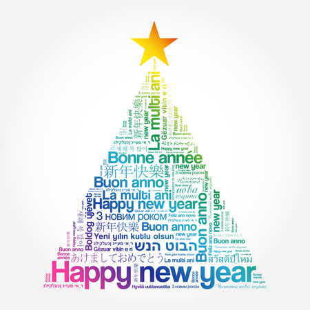 Happy New Year in different languages, celebration word cloud greeting card in the shape of a christmas tree Vektorové ilustrace