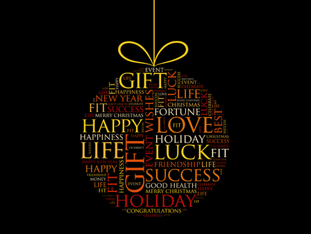 Happy New Year celebration greeting card, Christmas ball word cloud, holidays lettering collage