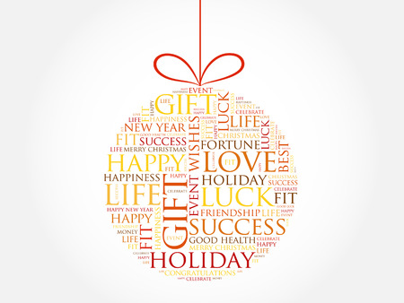 Happy New Year Celebration Greeting Card, Christmas Ball Word ...