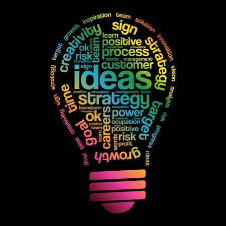 inspiring: Ideas Sphere Bulb Words Cloud, business concept Illustration