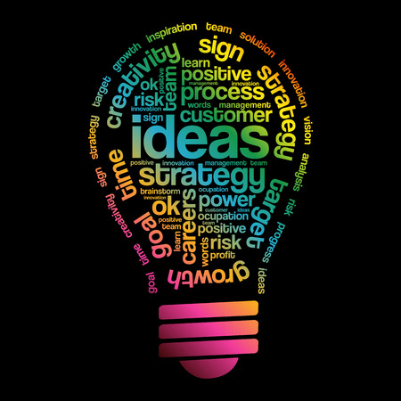 Ideas Sphere Bulb Words Cloud, business concept Illustration