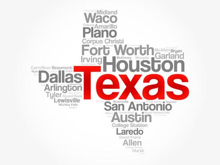 Lista de ciudades en Texas EE.UU. estado mapa de la nube de palabras, fondo de concepto Foto de archivo - 80642266