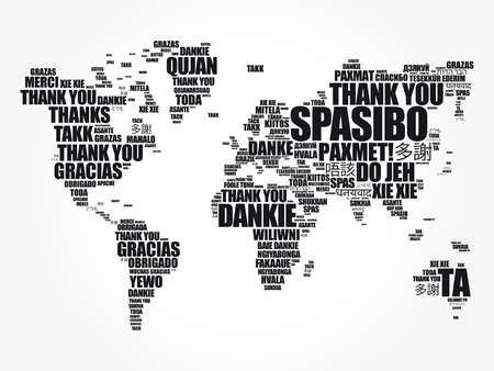 Thank You in many languages World Map in Typography word cloud, multilingual for education or thanksgiving day