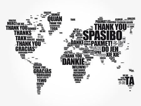 Vielen Dank in vielen Sprachen World Map in Typografie-Wortwolke, mehrsprachig für Bildung oder Erntedankfest