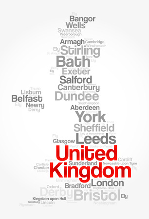 liverpool: List of cities and towns in UNITED KINGDOM, map word cloud collage, business and travel concept background Illustration