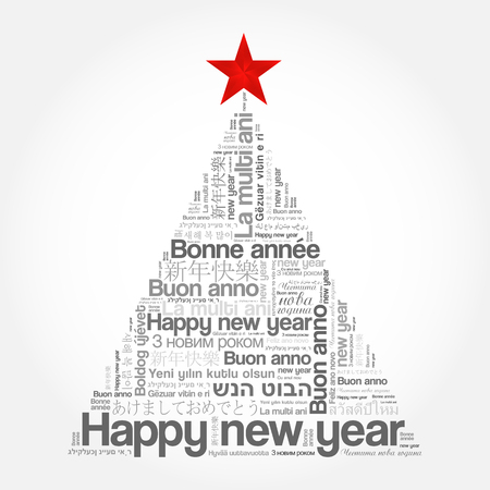 Happy New Year in different languages, celebration word cloud greeting card in the shape of a christmas tree