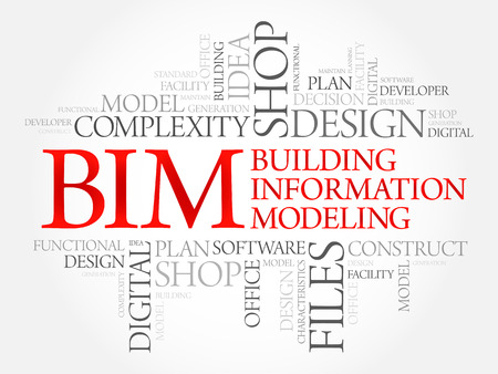 technology collage: BIM - building information modeling word cloud, business concept