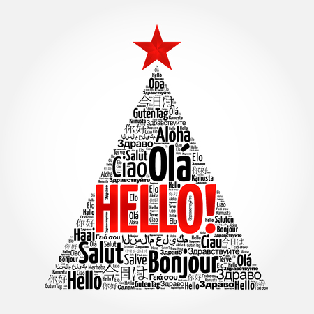 greet: Hello word cloud in different languages of the world, greeting card in the shape of a christmas tree Illustration