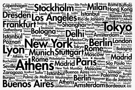 Cities in the World related word cloud collage background Иллюстрация