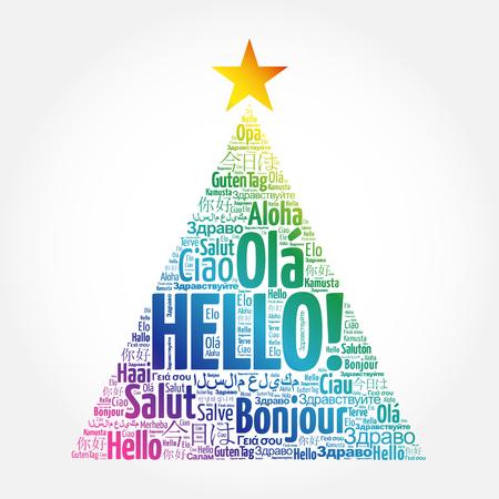 こんにちは、クリスマス ツリーの形をしたグリーティング カード、世界のさまざまな言語の単語の雲  イラスト・ベクター素材