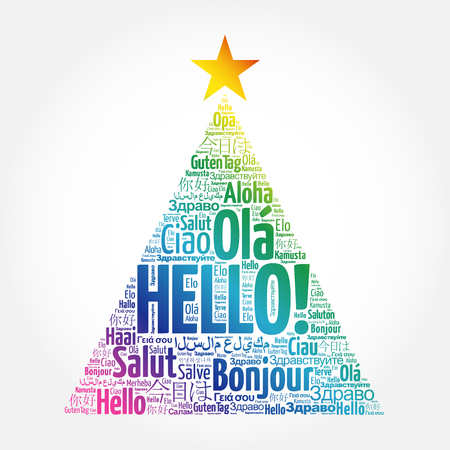 Hello word cloud in different languages of the world, greeting card in the shape of a christmas tree Ilustração