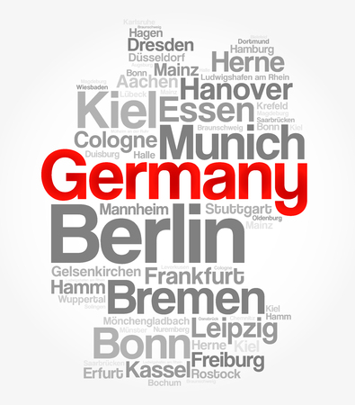 List of cities and towns in GERMANY, map word cloud collage, business and travel concept background