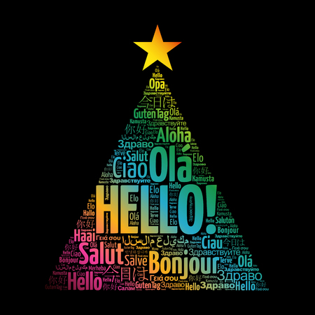 Hello word cloud in different languages of the world, greeting card in the shape of a christmas tree Çizim