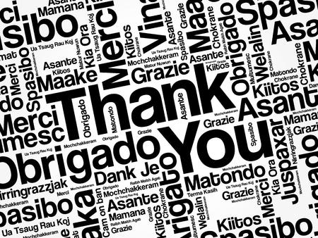 Gracias Nube de la palabra del fondo del concepto en muchos idiomas