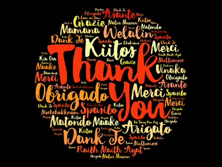 多くの言語でありがとうの言葉クラウド コンセプト背景  イラスト・ベクター素材
