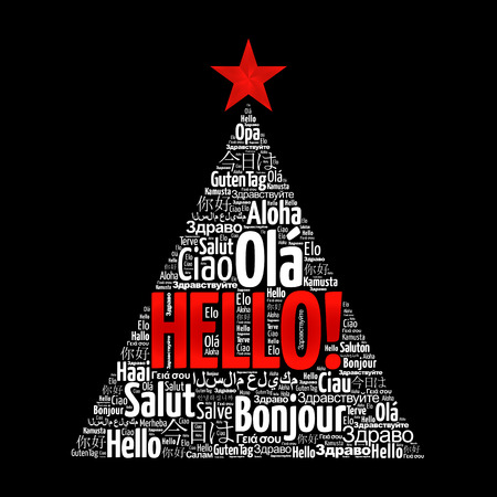 Hello word cloud in different languages of the world, greeting card in the shape of a christmas tree Illustration