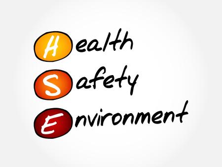 osh: HSE - Health Safety Environment, acronym concept Illustration