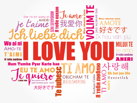 "love words ""I love you"" in all languages of the world, word cloud background"