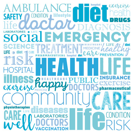cleanliness: HEALTH word cloud collage, concept background Illustration