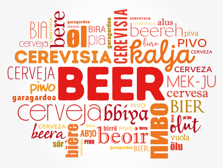 BEER in different languages of the world (english, french, german, etc), Word Cloud collage, multilingual background