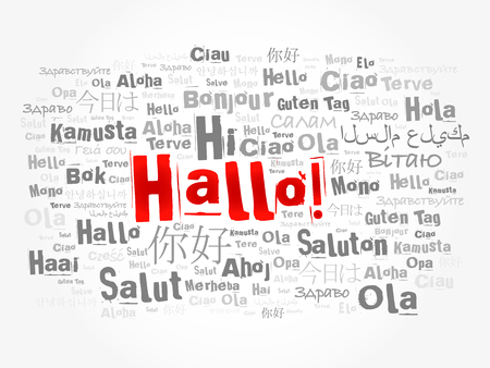 greet: Hallo (Hello Greeting in German) word cloud in different languages of the world, background concept Illustration