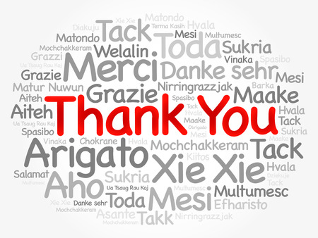 Thank You Word Cloud background, all languages, multilingual for education or thanksgiving day 일러스트
