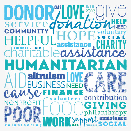 give: Humanitarian word cloud collage, social concept background