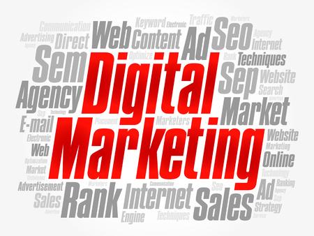 Digital Marketing woord wolk collage, business concept achtergrond