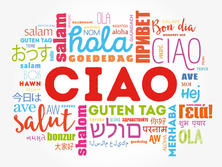 italia: Ciao (Hello Greeting in Italian) word cloud in different languages of the world, background concept