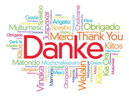 Danke (grazie in tedesco) Word Cloud sfondo, tutte le lingue, multilingue per l'istruzione o il giorno di ringraziamento