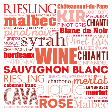 WINE VARIETALS Types word cloud collage, art concept background