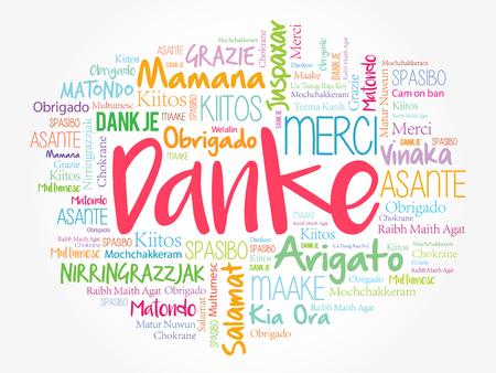 Danke (Dank u in het Duits) Word Cloud achtergrond, alle talen, meertalig voor onderwijs of dankzeggendag Stock Illustratie
