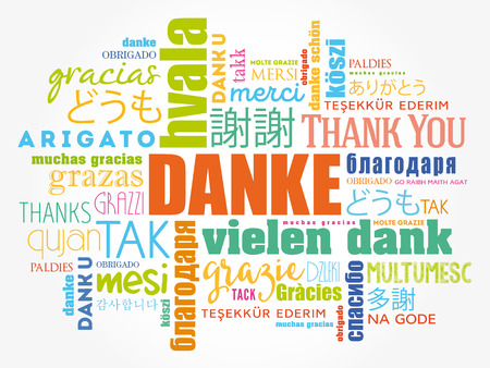 Danke (dziękuję po niemiecku) Słowo Cloud tło, wszystkie języki, wielojęzyczne dla edukacji lub dziękczynienia Ilustracje wektorowe