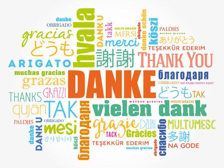 Danke (gracias en alemán) Fondo de la nube de la palabra, todos los idiomas, multilingüe para la educación o el día de la acción de gracias Ilustración de vector