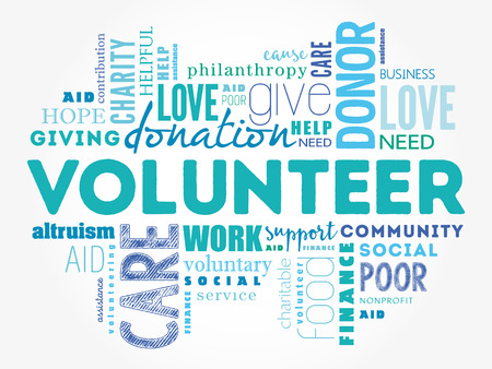 give: Volunteer word cloud collage, social concept background