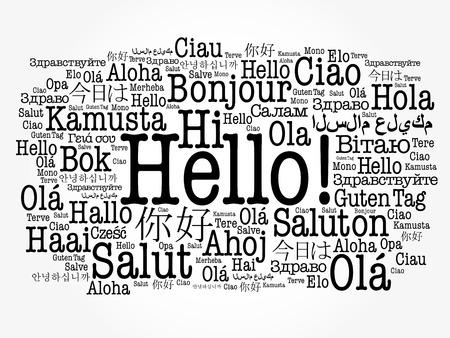 Hallo Wortwolke in verschiedenen Sprachen der Welt, Hintergrundkonzept Standard-Bild - 80855174