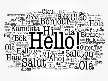 Hello word cloud in different languages of the world, background concept Stok Fotoğraf - 80855174