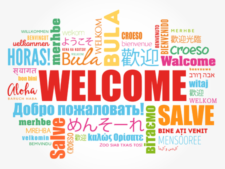 WELCOME word cloud in different languages, conceptual background Stock fotó - 80855181