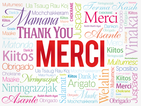metadata: Merci (Thank You in French) Word Cloud background, all languages, multilingual for education or thanksgiving day