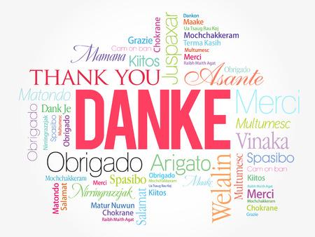 Danke (Merci en allemand) Contexte de Word Cloud, toutes les langues, multilingue pour l'éducation ou le jour de Thanksgiving Banque d'images - 80855187